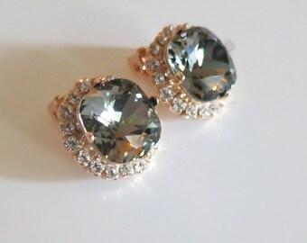Smoky Gray Earrings,Clip On Earrings,Gray Crystal Earrings Bridal Rose gold Earrings,Swarovski Earrings,Charcoal Rhinestone Gray Earrings