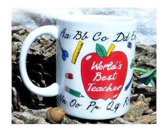 World's best teacher - teacher coffee cup - teacher coffee mug - teacher gift - ABC coffee mug - ABC coffee cup -  # 87