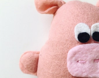 Paulette Piggy, Lambswool Plush Toy, Soft Toy, Plushie, Softie, Stuffed Animal, Handmade, Pig, Baby Gift, Piglet Toy, Pig Softie, Gift