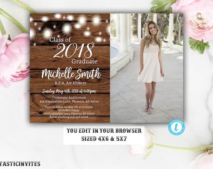 Rustic Graduation Invitation Template, Instant Download, Rustic, Editable, Class of 2018, Graduation, Senior, High school, College, DIY Edit