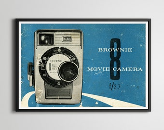 "1960 Kodak Brownie Movie Camera Manual Print - 24""x36"" or 18""x24"" Poster - Film - Movies - Super 8 - Video"