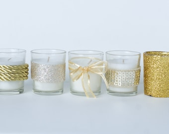 Set of 10 Votive Candles Glamourous Gold