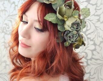 Flower crown, woodland hair wreath, green rose and ivy headpiece, woodland hair wreath, rustic hair accessory - Jade