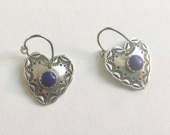 vintage sterling and lapis stamped heart earrings, signed