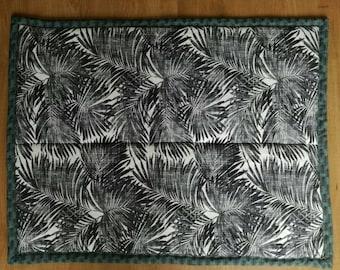 Baby play mat - botanical jungle palm leaves - blue