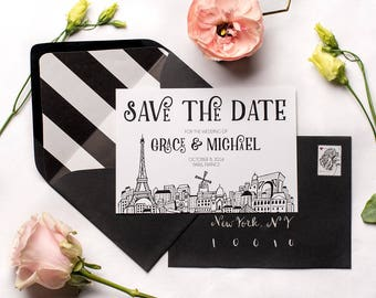 Paris Skyline Eiffel Tower Save the Dates | French Wedding Save the Date