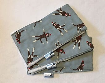 Set of 3 Sock Monkey Burp Cloths