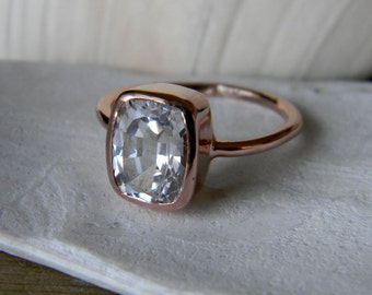 Rose Gold and Cushion Shaped White Topaz Cushion Gemstone Ring, Cushion Solitaire Engagement Ring, No Conflict wedding Ring, 100% Handmade