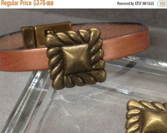On Sale NOW 25%OFF Decorative Slider Bead For Up To 13MM Flat Leather Antique Brass Z1242 Qty 2