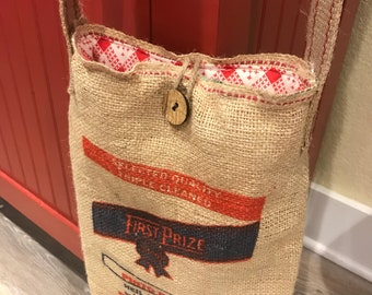 Burlap crossbody upcycled from bag with vintage feedsack lining