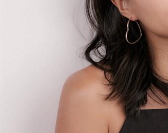 Gold Heart Hoop Earrings - Heart Hoops - Gold Hoop Earrings