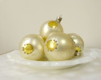 Set of 6 Vintage Mercury Glass Ornaments, Yellow Champagne Glitter Dots