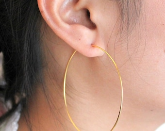 Thin and Lightweight Handmade Sterling Silver Hoop Earrings, Sterling Silver Hoops, Hammered Silver Hoops