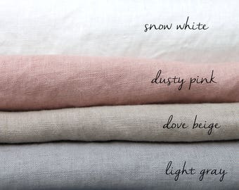SALE. Linen Fabric  Softened stone washed linen  fabric . Pink, gray, beige, white fabric. MORE fabrics are AVAILABLE