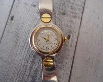 "ECCLISI 925 Sterling Silver and Gold Over Sterling Wrist Watch, Vintage Estate, 7"" Long"