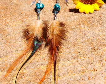 Turquoise, Rooster Feather & Swarovski Crystal Earrings //Feather Earrings // Beach Baby