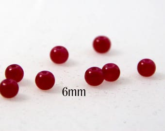 5 6mm glass Pearl round cherry red color