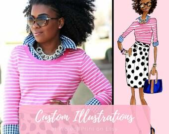 Custom Illustration, custom fashion illustration - Fashion print