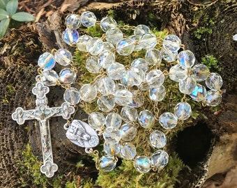 "Vintage Aurora Borealis  Bead Rosary Santo Cristo 25"" long 10mm beads"