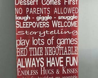 Grandparents House Rules, Wood Sign, Grandparents, House Rules