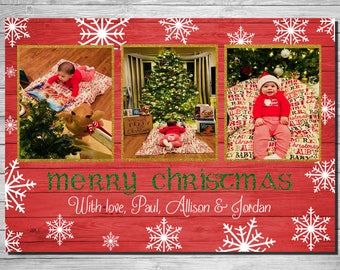 Red Wood & Snowflakes Christmas Card