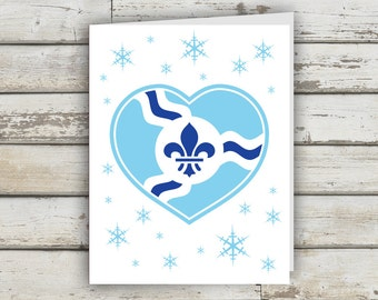 STL Holiday Heart, St Louis, St Louis Print, Fleur De Lis, STL Flag, St Louis Flag, Christmas Card, XMAS Card, Holiday Card