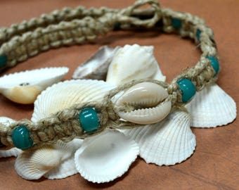 Surfer Phatty Thick Hemp Necklace With Glass Beads Cowrie Shell Choker