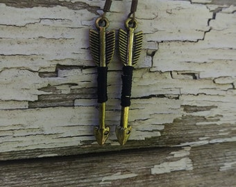 Brass Colored Arrow with Black String Dangle Earrings
