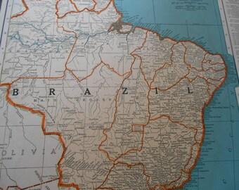 map of brazil vintage south america map 1930s world atlas map wall art
