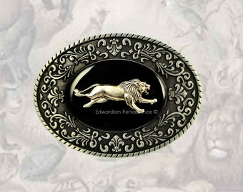 Running Lion Oval Belt Buckle Inlaid in Hand Painted Black Onyx Enamel Victorian Safari with Intricate Brocade Etchings with Color Options