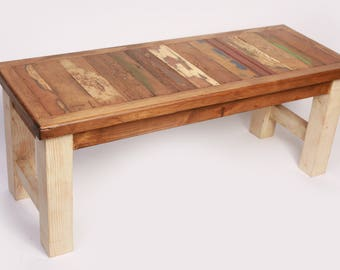 Reclaimed Wood Turquoise  Bench-48L x 18D x 19H in-Western-Vintage Look-Rustic-Re-purposed-Antique White