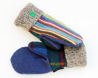 Blue Striped Wool Sweater Mittens for Women by Sweaty Mitts Handmade in Wisconsin Upcycled Recycled yellow green red Plaid Fleece Lined Gift