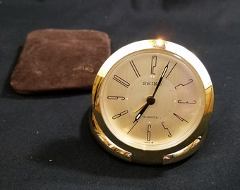 Vtg Seiko Quartz Travel Alarm Clock Gold Tone with Carry Pouch Made in Japan QQQ155G NEW BATTERY