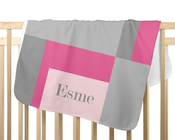 Pink and Gray Colorblock Baby Blanket, Personalized