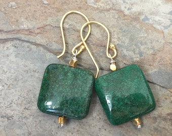 Chrysocolla Earrings, large and square with plated gold beads and ear wires, 1.25 inches long