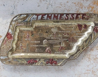 Tennessee State Souvenir Metal Tray Ash Tray Mid Century Kitsch Pot Metal Tray Made in Japan #2
