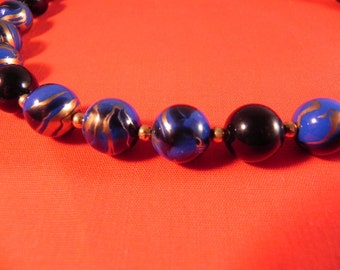 Vintage Bead Necklace Gold Tone  Spacers Blue& Black Swirl Design Gold on Beads