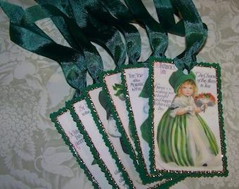 St Patrick's Day Tags Vintage Style Ellen Clapsaddle St Patrick's Tags Set 3 - Set of 6