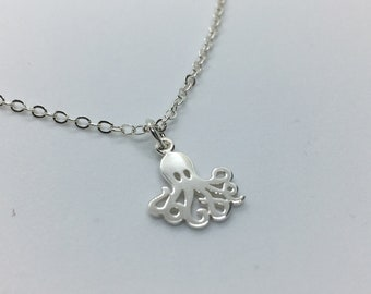 Sterling Silver Detailed Octopus Necklace, Octopod Jewelry, Nautical Art, Custom Chain Length, Makes A Unique Gift!