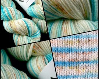 "Dyed to Order, Hand Dyed Yarn, Hand Dyed Sock Yarn, Hand Dyed DK Yarn. ""Thaw"""