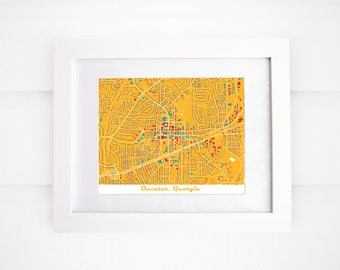 Decatur Map, GA Map Print, More Colors!