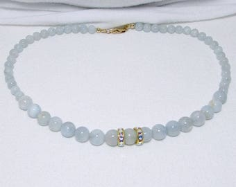 Genuine Aquamarine, Gemstone Necklace, Graduated Beads, Mint Necklace, Blue Green Necklace