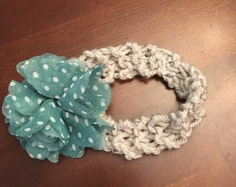 Baby Headband Gray and Teal