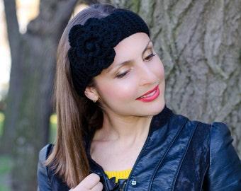 Black flower headband, crochet flower headband, headband with flower, womens headband, knitted headband, womens knit headband,