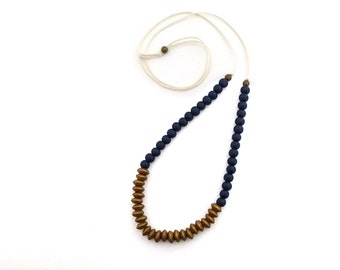 Gold and navy blue beaded necklace, colorblock necklace, long adjustable necklace, lightweight necklace, layering necklace, simple beaded