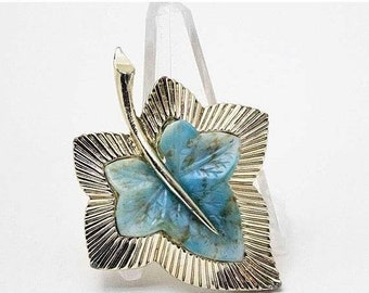 ON SALE - BOUCHER Turquoise Matrix Art Glass Gold-Plated Leaf Brooch - Inventory #5954