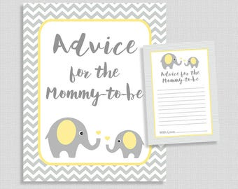 Advice For The Mommy To Be Cards and Sign, Yellow Elephant Grey Chevron Baby Shower, Gender Neutral, DIY Printable, INSTANT DOWNLOAD