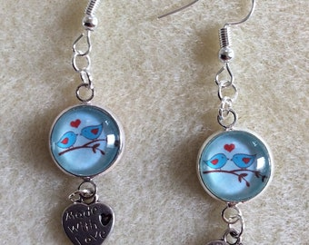 Birds on a branch earrings, with heart, made with love