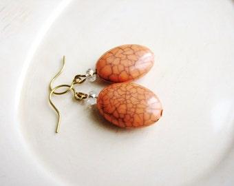Peach Earrings, Pink Earrings, Soft Drop Earrings, Bridal Earrings, Minimalist Earrings, Bead Earrings, Beaded Earrings