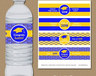 High School Graduation Decoration, College Graduation Water Bottle Labels, 2018 Graduation Party Decorations Royal Blue and Yellow Labels G1